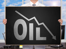 Falling oil chart Royalty Free Stock Photography