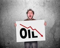 Falling oil chart Stock Images