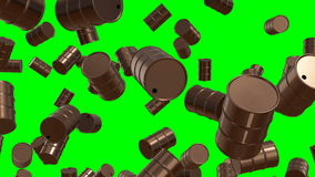 0001 Falling oil drums on greenscreen 4K stock video footage