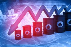 Falling oil price graph. Oil Barrels with falling oil price graph Stock Photography