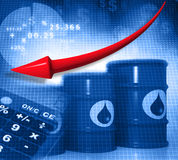 Falling oil price graph. Oil Barrels with  falling oil price graph Stock Photos