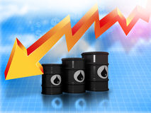 Falling oil price graph. Oil Barrels with  falling oil price graph Royalty Free Stock Photo
