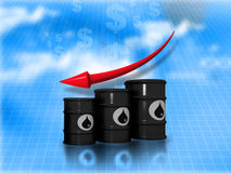 Falling oil price graph. Oil Barrels with  falling oil price graph Stock Photo