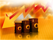 Falling oil price graph. Oil Barrels with  falling oil price graph Stock Image