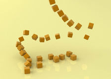Falling Orange Cubes. A collapsing tower of small orange 3d cubes Stock Image