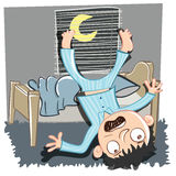Falling out of bed. Cartoon man falling out of bed royalty free illustration