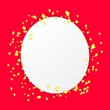 Falling paper confetti holiday background. White border mockup template for birthday, xmas, christmas, new year. Vector celebration party frame shiny falling Stock Images