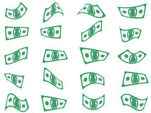 Falling Paper Money Cash Shapes Stock Photos
