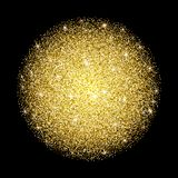 Falling particles in circle form on dark background. Lights Shin. E effect for your design. Falling particles for greeting card, invitation. Golden frame. Golden vector illustration