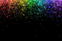 Falling particles with rainbow color effect on black background. Vector. Illustration Royalty Free Stock Photography