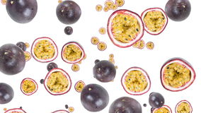 Falling Passion Fruit with transition Stock Image