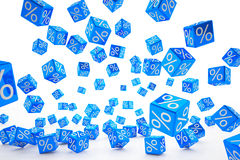 Falling percent cubes blue Stock Photo
