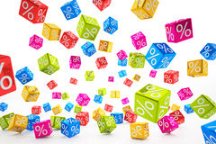 Falling percent cubes - colorful Stock Photos