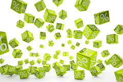 Falling percent cubes green Royalty Free Stock Photos