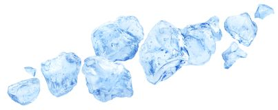 Falling pieces of ice, heap of crushed ice isolated on white background. Flying chunks of ice isolated on white background, falling pieces of crushed transparent vector illustration