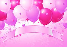Falling Pink Valentine Balloons Stock Photo