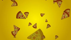 Retro style Falling Junk food Pizza on yellow background for motion graphics, birthday, advertise etc, stock footage