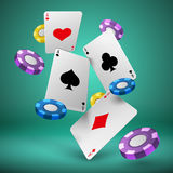 Falling playing cards and poker chips gambling background. Casino success game 3d vector concept. Chip for poker game and play card illustration royalty free illustration