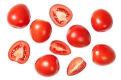 Falling Plum Tomatoes Stock Photography