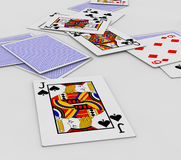 Falling poker cards Stock Images