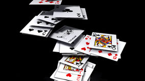 Falling poker cards Stock Photos
