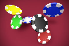 Falling poker chips Royalty Free Stock Photography