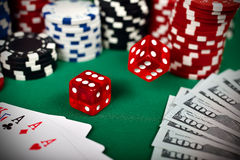 Falling poker dice Royalty Free Stock Photos