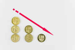 Falling pound coins Stock Photos