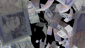 Falling pound sterling money stock footage