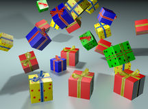 Falling presents. Background with falling colored gifts Stock Image