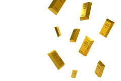 Free Falling Price Of Gold Represented By A Golden Yellow Metal Bar Going Down Royalty Free Stock Photos - 75921438