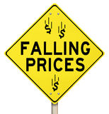 Falling Prices Reduced Slashing Costs Special Sale Discount. The words Falling Prices and dollar signs or symbols on a yellow warning sign to advertise reduced stock illustration