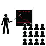 Falling profit margins. Man giving economic forecast falling profit margins Vector Illustration