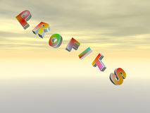 Falling profits. 3D render of letters profits falling against beautifol sky Royalty Free Stock Image
