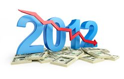 Falling profits in 2012. On a white background Stock Images