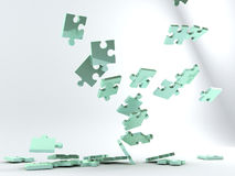 Falling puzzle pieces Stock Photos