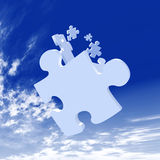 Falling Puzzle Pieces. 3D Illustration. Puzzle Pieces falling from the Sky Royalty Free Stock Photo