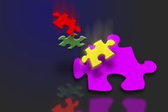 Falling puzzle pieces Stock Photo