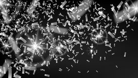 Falling Rain Of Brilliant Silver Confetti. EPS10 Vector Royalty Free Stock Images