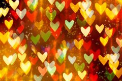 Falling rain colored hearts. Royalty Free Stock Photo