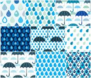 Falling rain drops and umbrellas water vector seamless patterns. Set, weather and nature theme blue colored repeat endless backgrounds collection, dew water Royalty Free Stock Photos