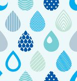 Falling rain drops water vector seamless pattern, blue colored r. Epeat endless background, dew water dripping Royalty Free Stock Image