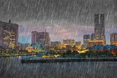 Falling rain at Yokohama city, Japan Stock Images