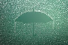 Free Falling Raindrop On Green Background With Umbrella Shape. Heavy Rain And Weather Storm In Raining Season Stock Photo - 148953070