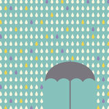 Falling raindrops pattern with umbrella Stock Photo