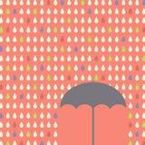 Falling raindrops pattern with umbrella Royalty Free Stock Photo