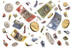 Falling Raining Australian Money Royalty Free Stock Images