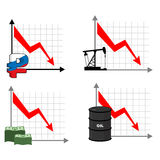 Falling rates of rouble and oil. Red down arrow. Reducing cost o. Fall rates of rouble and oil. Red down arrow. Reducing cost of barrels of oil. Reduction quotes Royalty Free Stock Photos