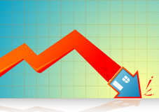 Falling Real Estate Graph Royalty Free Stock Image