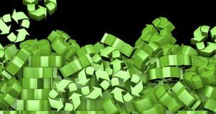 Falling recycling symbols stock video